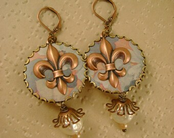 The Lily  - Vintage Hand Cut Tin Bezels Copper Fleur de Lis Pearls Recycled Earrings - Upcycled Repurposed Jewelry - 10th Anniversary Gift