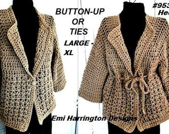 Crochet PATTERN, Sweater, Jacket, Women's Large and XL sizes, (38-48 inch chest), #953LXL, women's clothing, crochet for women and teens