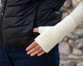 Fingerless gloves  Wool gloves Arm warmers White gloves Wool arm warmers Crocheted gloves Wrist warmers