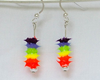 rainbow spiky earrings, spiky rubber earrings, spiky tube earrings, silicone tube earrings, sterling silver and spiky tube dangles