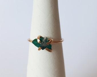 Made to Order Dioptase Ring 14k gold filled Dioptase Ring Dioptase Stacking Ring