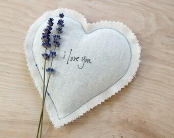 Saint-Valentin mignon lavande Sachet, Sachet de coeur quelque chose de bleu cadeau pour la mariée de mariage, je t'aime coton cadeau d'anniversaire pour femme