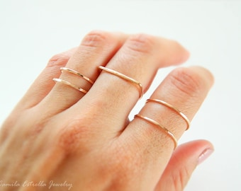 Stacking Gold Ring, Rose Gold Ring, Stacking Ring, Gold Ring, Double Band Ring, Midi Ring, Silver Ring, Band Ring, Stacked Gold Rings