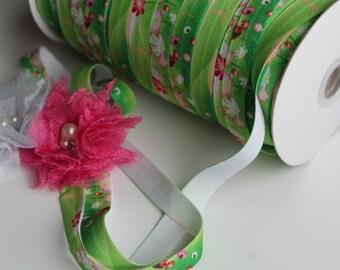 "5/8"" Fold Over Elastic FOE Green Floral"