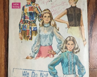 Vintage Simplicity 8594 Misses' Blouse Sewing Pattern, Size 14, Bust 36, Long Sleeve Blouse Pattern, Sleeveless Blouse Pattern, 70s Pattern