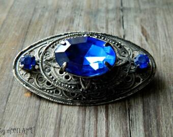 Silver Vintage Brooch.  1980s Silver Peacock Blue Vintage Brooch. December Birthstone