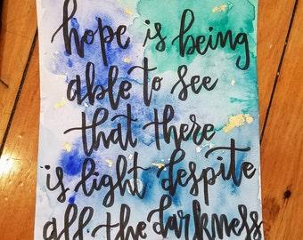 Hope- Desmond Tutu quote original watercolor