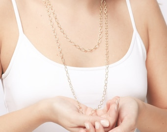 Dainty gold necklace layered necklace gold chain necklace everyday gold necklace Delicate 24k gold plated jewelry.