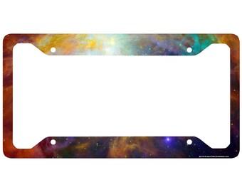 Space Galaxy License Plate Frame, Stars Car Tag Frame, Universe License Plate Holder, Outer Space Nebula Cute License Plate Frame-30-712