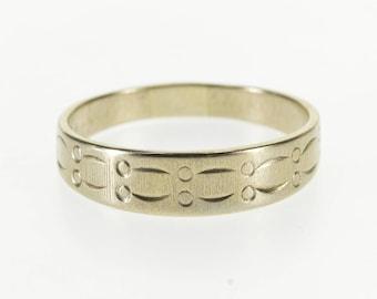 10k Graduated Scalloped Dot Patterned Band Ring Gold
