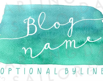 "Custom ""Sea Splash"" Turquoise Watercolor Header Design + Button + Signature // Blog Design // Blog Package // Wordpress // Blogger"
