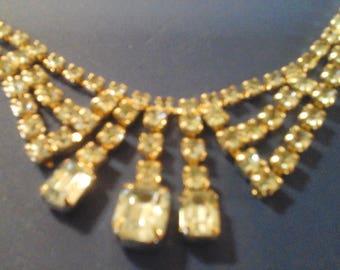 Vintage Blue Glass Topaz Necklace
