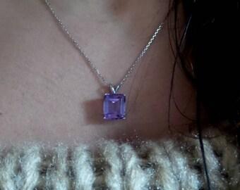 Amethyst Necklace Sterling Silver/ Genuine Amethyst Necklace/ Silver Amethyst Necklace/ February Birthstone Necklace/ Amethyst Gemstone