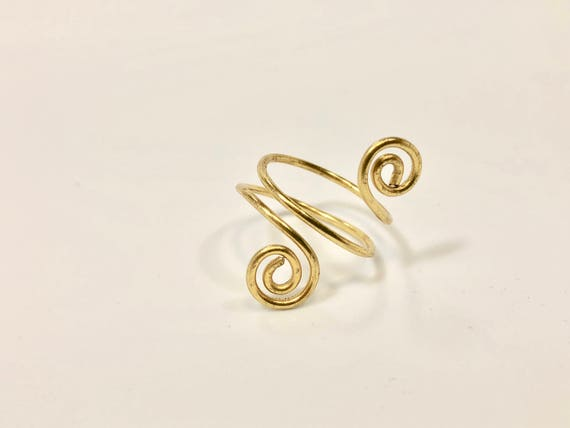 SJC10293 - Wire wrapped brass adjustable ring
