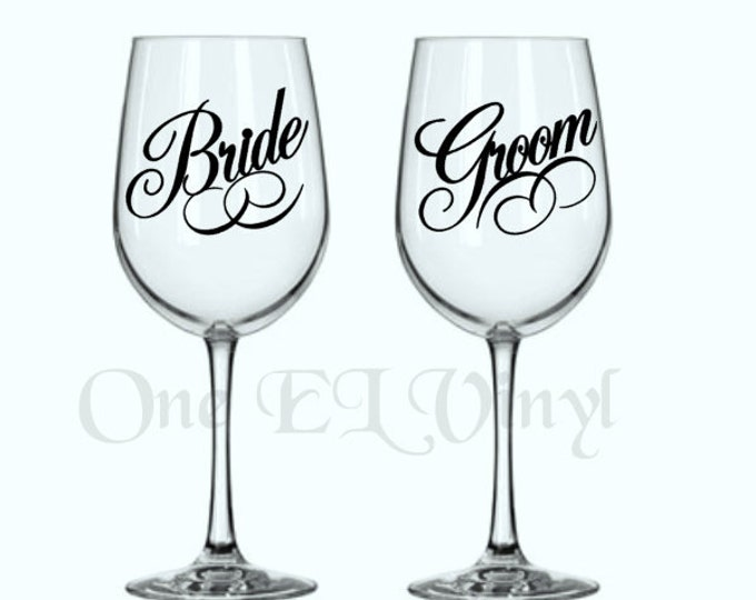 DIY Decals - Bride and Groom (or 2 Brides or 2 Grooms) Vinyl Decal for Wine Glass Wedding Decor Glass NOT Included