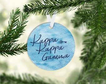 KKG Kappa Kappa Gamma Watercolor 3 Inch Acrylic Christmas Ornament Greek Sorority Life