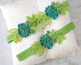 Green Embroidery Flower Lace Wedding Garter Set, Green Garter Set, Lime and Green Lace Garter Belt / GT-34A