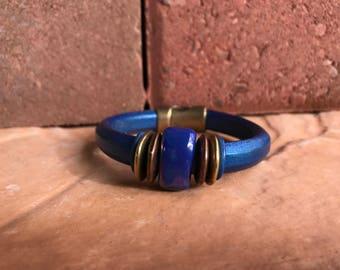 Leather bracelet, Women's bracelet, Magnetic closure bracelet, Electric blue bracelet,