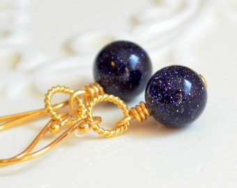 Navy Blue Goldstone Earrings, Beaded Jewelry, Wire Wrapped, Gold Vermeil Ear Hooks, Midnight, Sparkly, Simple Drops