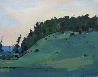 Dusk, Lost Dog Hill, Original Landscape Painting on Paper, Canada