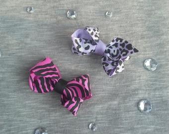 Girls Animal Print Hair Clips - Set of 2 - Hot Pink Zebra & Purple Leopard