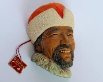 """Bossons 1960s Bossons """"Himilayan"""" Chalkware Head Made in England Vintage"""