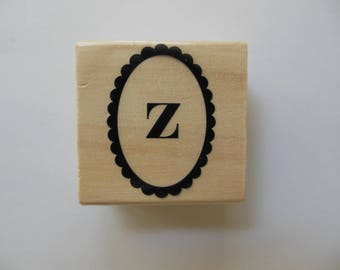 Letter z Rubber Stamp - Paisley Monogram Collection - Alphabet Letter z Stamp - Wood Mounted Rubber Stamp