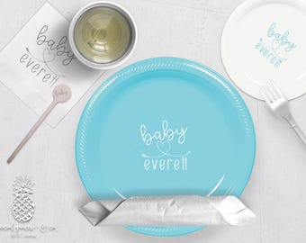 Baby Heart Shower Party Plates, Napkins or Cups | Plastic Cups | Personalized Plastic Plates | Monogram Napkins | Personalized Stir Sticks