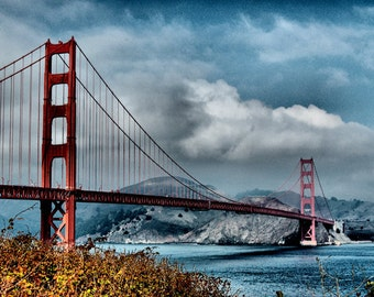 San Francisco Skyline - Golden Gate Bridge Landscape -  Fine Art Photography - 8x12