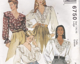ON SALE 1990's Sewing Pattern - McCall's 6750 Misses Blouses Size 16-18 cut, Complete