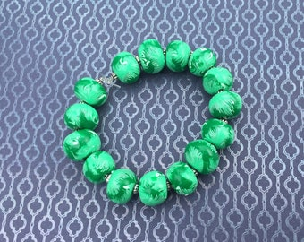 Polymer Clay Beaded Bracelet - Green and White