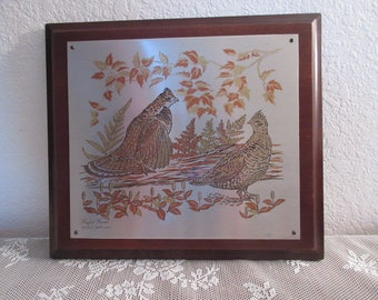 """Vintage Wildlife """"Ruffed Grouse"""" Lithograph Insulptures - Limited Edition"""