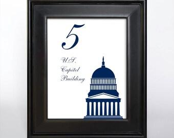Printable Washington DC Table Number Wedding Decor Reception Sign Cards Landmark Icons 4x6 5x7 or 8x10 Choose Font, Color and Landmarks