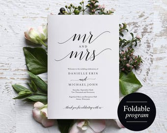 Folded Wedding Program Template, Folded Wedding Program Printable, Bliss Paper Boutique, Program Template, PDF Instant Download #BPB310_3_2