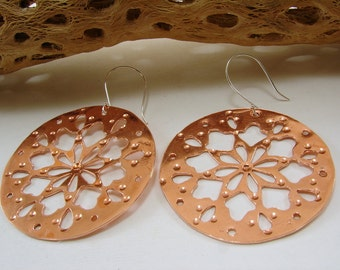 Copper and Sterling Silver Large Mandala Disk Hand Cut Earrings