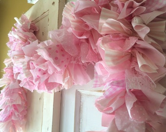 Pink fabric Garland.  Handmade pink party decoration.  Perfect for Baby Showers, Birthday Party or any Girls Party. It's a Girl Pink Banner