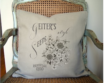 Farmhouse Pillow Cover. Grain Sack Pillow. Seed Sack. Personalized Pillow. Farmhouse Decor Rustic Country. Fixer Upper. Floral Pillow Cover.