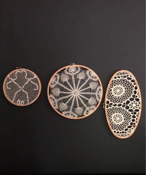 Vintage Mid-Century Handmade Lace Tatting - Vintage Embroidery - Mid-Century White Lace Wall Decor
