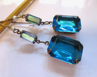 Art Deco earrings Edwardian earrings vintage style 1920s Art Nouveau earrings turquoise blue topaz statement earrings turquoise crystal