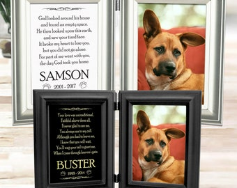 Dog Memorial Frame - Personalized Name Engraved On Metal Plaque - Double Picture Frame Holds 5x7 Photo - Choice Of 12 Pet Loss Poems