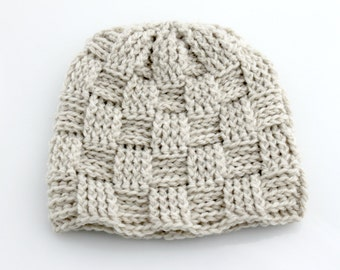 Crocheted Basketweave Beanie Hat. Adult. Ivory.