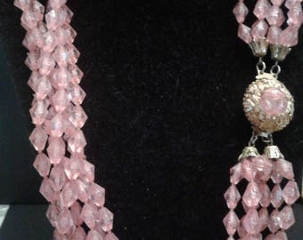 Pink Midcentury Multi-Strand Necklace with Decorative Clasp