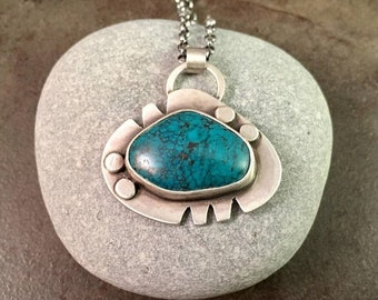 25% Off Turquoise Cabochon Sterling Silver Southwestern Metalwork Necklace Pendant