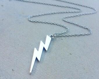 Antique Silver Lightening Bolt Necklace