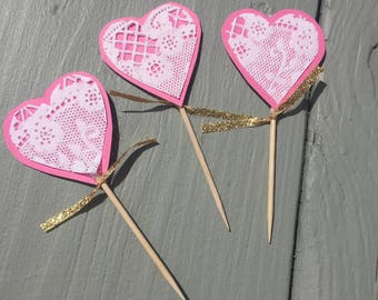 Food Picks Hors D'ouevres hearts, Set of 12 Food Decoration, tooth picks wedding bridal shower party white and pink with ribbon accent gold