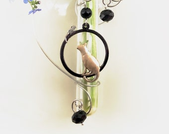 Cat and Mouse 3 inch glass Window Vase Glass Suction Bud Vase Gift For Cat Lover Home Decor Window Vase Test Tube Vase with Suction Cup