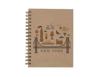 New York City Journal - Notebook | Lined Pages | Spiral Bound | Letterpress | Hard Cover