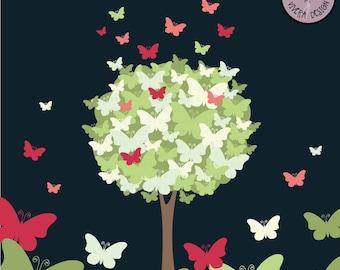 The Butterfly Tree Digital Clip Art