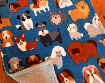 Dog blanket, pet blanket, fleece dog blanket, dog breeds blanket, puppy blanket, blue dog  blanket, dog gift, puppy gift