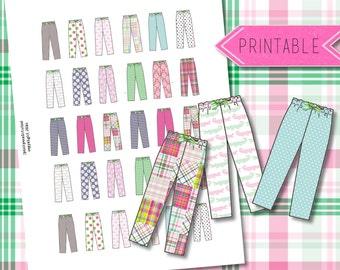 Pajama Day Printable Stickers for Erin Condren Life Planner/Happy Planner